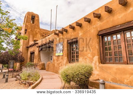 Santa Fe, New Mexico - October 4, 2019: Exterior Of The New Mexico Museum Of Art