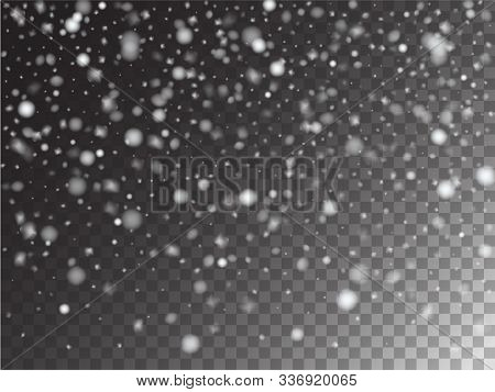 Winter Snowfall Vector Storm Trail Transparent Background. Isolated Realistic Snow Confetti Falling
