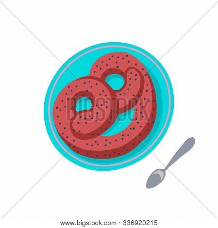 German Pretzel On Plate Cartoon Vector Illustration Isolated On A White Background. Soft And Crispy