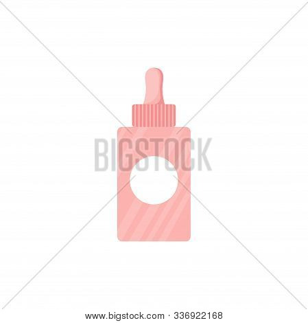 Isolated Serum Or Cream Bottle. Cute Skincare Cosmetics Icon In Cartoon Style. Beauty Woman Face Nat