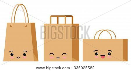 Emoji Character Packaging For Goods Set Isolated On White Background. Kawaii Kraft Brown Cardboard S