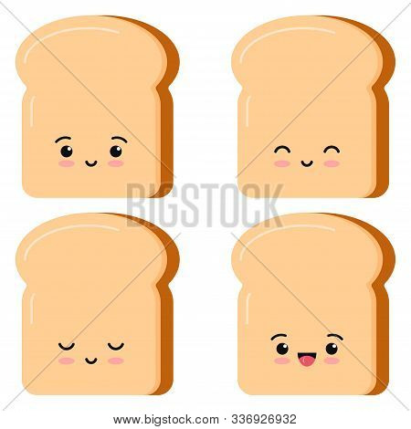 Cute Toasts Bread Kawaii Cartoon Styly Set Isolated On White Background. Vector Illustration Flat De