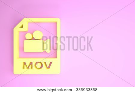 Yellow Mov File Document. Download Mov Button Icon Isolated On Pink Background. Mov File Symbol. Aud