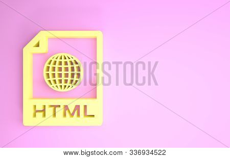 Yellow Html File Document. Download Html Button Icon Isolated On Pink Background. Html File Symbol.