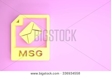 Yellow Msg File Document. Download Msg Button Icon Isolated On Pink Background. Msg File Symbol. Min