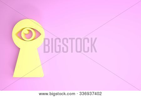 Yellow Keyhole With Eye Icon Isolated On Pink Background. The Eye Looks Into The Keyhole. Keyhole Ey