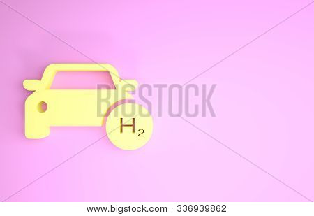 Yellow Hydrogen Car Icon Isolated On Pink Background. H2 Station Sign. Hydrogen Fuel Cell Car Eco En