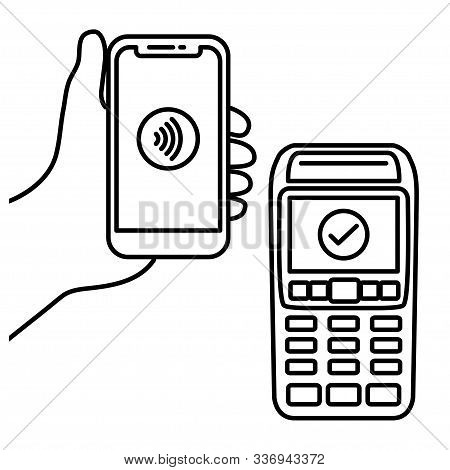 Vector Illustration Hand Of Customer Using Terminal For Wireless Or Contactless Payment With Smartph