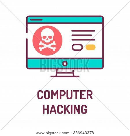 Computer Hacking Color Line Icon. Attempt To Exploit A Computer System Or A Private Network Inside A