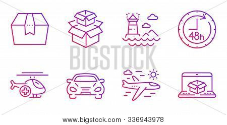 Lighthouse, Airplane Travel And Packing Boxes Line Icons Set. Package Box, Medical Helicopter And 48