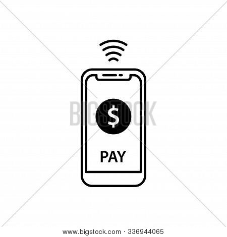Nfc Payment Vector Outline. Payment By Smartphone, Contactless Payment Concept Line Icon. Simple Ele