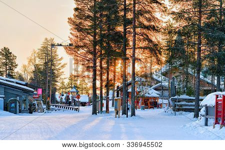 Sunset At Santa Claus Village In Lapland New