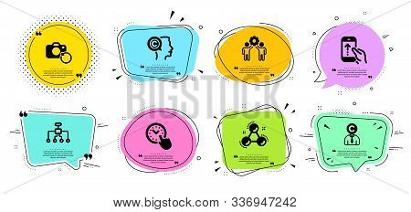 Restructuring, Employees Teamwork And Recovery Photo Line Icons Set. Chat Bubbles With Quotes. Swipe