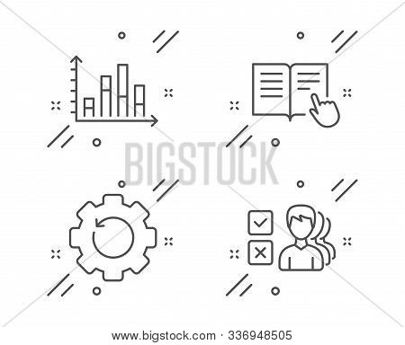 Read Instruction, Diagram Graph And Recovery Gear Line Icons Set. Opinion Sign. Opened Book, Present