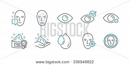 Set Of Medical Icons, Such As Skin Care, Eye, Face Biometrics, Face Attention, Problem Skin, Myopia,