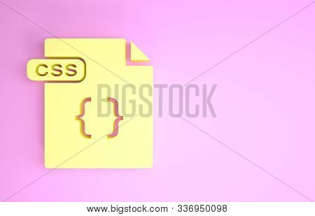 Yellow Css File Document. Download Css Button Icon Isolated On Pink Background. Css File Symbol. Min