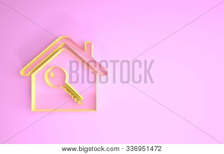Yellow House With Key Icon Isolated On Pink Background. The Concept Of The House Turnkey. Minimalism