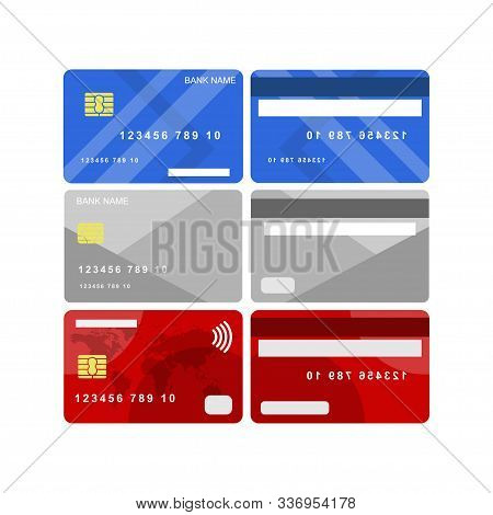 Collection Of Credit And Debit Card Vector Designs For Contactless Payment Isolated White Background