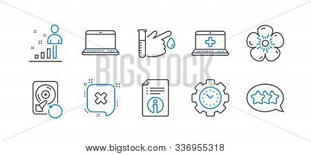 Set Of Business Icons, Such As Blood Donation, Time Management, Medical Help, Stats, Notebook, Recov