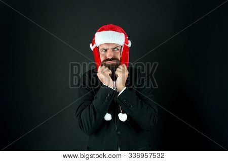 Warm Yourself When Its Cold. Unhappy Businessman Shiver In Cold. Bearded Man Feel Cold Dark Backgrou