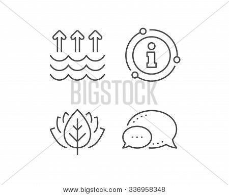 Evaporation Line Icon. Chat Bubble, Info Sign Elements. Global Warming Sign. Waves Symbol. Linear Ev