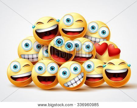Emoji Faces Group Vector Design. Emojis Yellow Circle Face Group With Cute, Laughing, Funny, Surpris