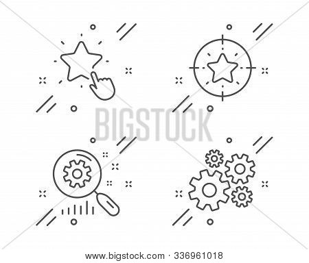 Ranking Star, Search Statistics And Star Target Line Icons Set. Cogwheel Sign. Click Rank, Analysis,