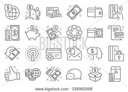 Money Wallet Line Icons. Update Credit Card, Contactless Payment And Piggy Bank Linear Icons. Online