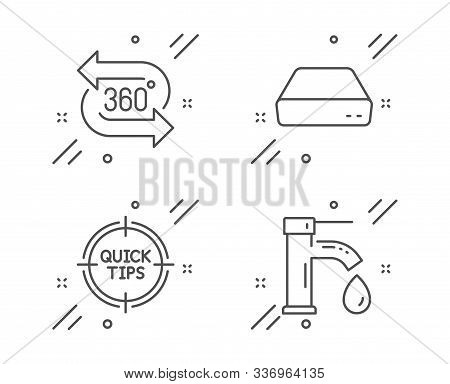 Mini Pc, Tips And 360 Degree Line Icons Set. Tap Water Sign. Computer, Quick Tricks, Virtual Reality