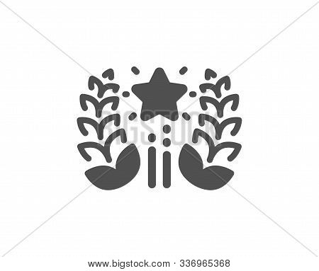 Laurel Wreath Star Star Sign. Ranking Icon. Best Rank Symbol. Classic Flat Style. Simple Ranking Ico