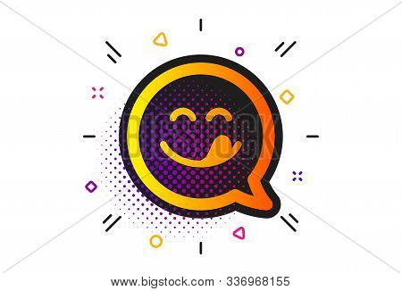 Emoticon With Tongue Sign. Halftone Circles Pattern. Yummy Smile Icon. Speech Bubble Symbol. Classic