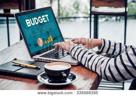 Close Up Hand Of Influencer Budget Planning For Online Media Advertising At Cafe Restaurant.online M
