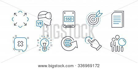 Set Of Technology Icons, Such As Augmented Reality, Rotation Gesture, Reject, Ssd, World Globe, Idea