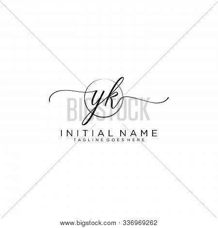 Yk Initial Handwriting Logo With Circle Template Vector.