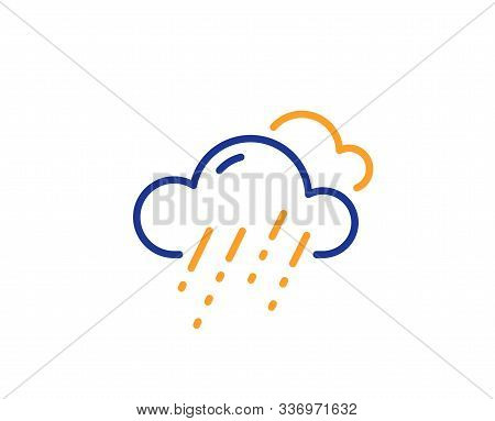 Clouds With Rain Sign. Rainy Weather Forecast Line Icon. Cloudy Sky Symbol. Colorful Outline Concept