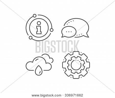 Rainy Weather Forecast Line Icon. Chat Bubble, Info Sign Elements. Clouds With Rain Sign. Cloudy Sky