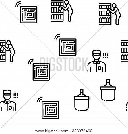 Shoplifting Seamless Pattern Vector Thin Line. Illustrations