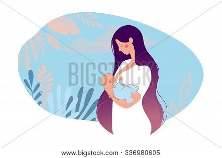 Illustration of breastfeeding, lactation. A mother breastfeeds her baby on a natural background with leaves. The concept of motherhood, health, family, childhood support. Cartoon vector illustration isolated on white background. poster