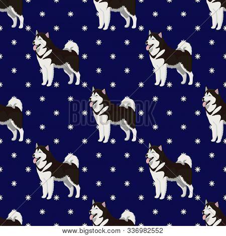 Alaskan Malamute Dog Breed Seamless Pattern With Snowflakes