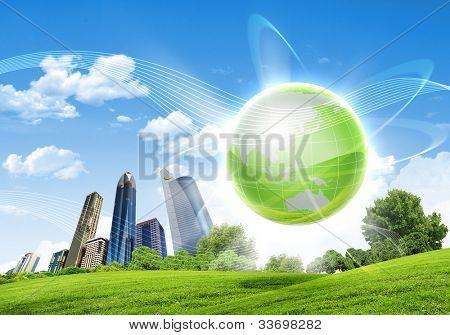 Foto de planeta verde como símbolo de environmental concept