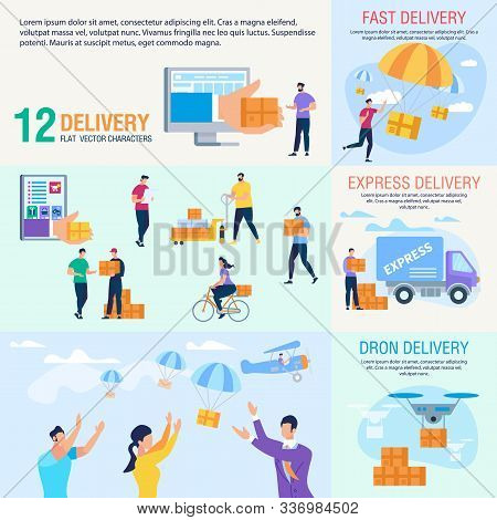 Express Delivery Service, Goods Shipment With Drones, Postal Parcels Delivery Company Trendy Flat Ve