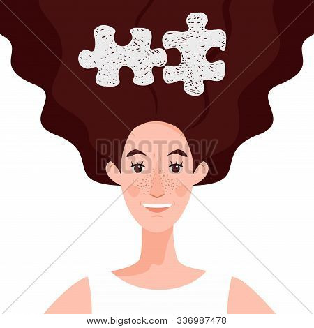 A Happy, Young Woman Who Is Doing Well. The Puzzle Has Developed In The Head. The Concept Of A Job W
