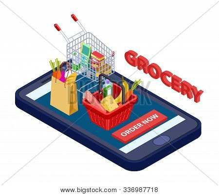 Online Grocery Concept. Vector Mobile App For Grocery Store With Food, Vegetables, Fruits. App Deliv
