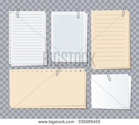 Note Papers Sheets. Different Notepaper With Paper Clips, Memo Stickers. Notepad For Notice, Appoint