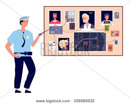 Detective Board. Crime Investigation Plan With Murder Photos, Newspapers And Notes, Cop Investigator