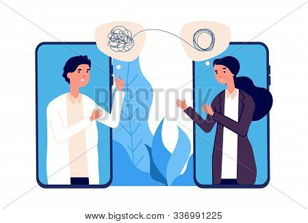 Online Psychotherapy Concept. Psychologist Doctor Helps Patient To Unravel Tangled Thoughts. Psychol