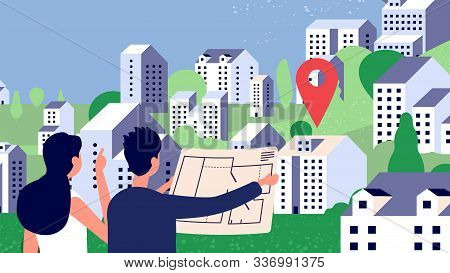 Property Selection. Couple Watching House Plan. Vector Characters, Country Landscape With Houses Mou