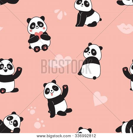 Panda Seamless Pattern. Happy Cute Flying Panda Bears, Adorable Chinese Wild Zoo Animals. Colorful C