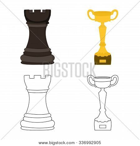 Vector Illustration Of Checkmate And Thin Symbol. Collection Of Checkmate And Target Stock Vector Il