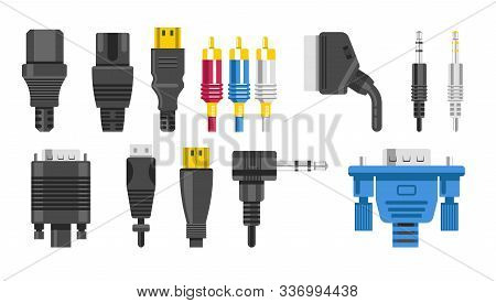 Plugs Isolated Icons, Connection Cables And Connectors, Audio Or Video Adapters